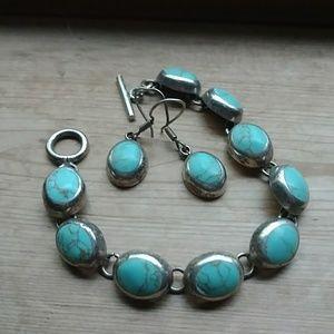 Vintage turquoise sterling silver bracelet earring